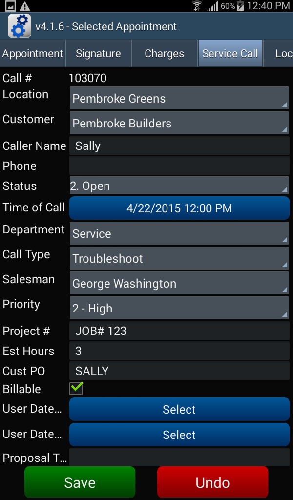 Appointment - Service Call tab
