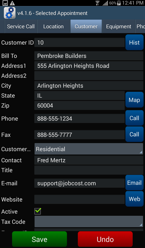 Appointment - Customer tab