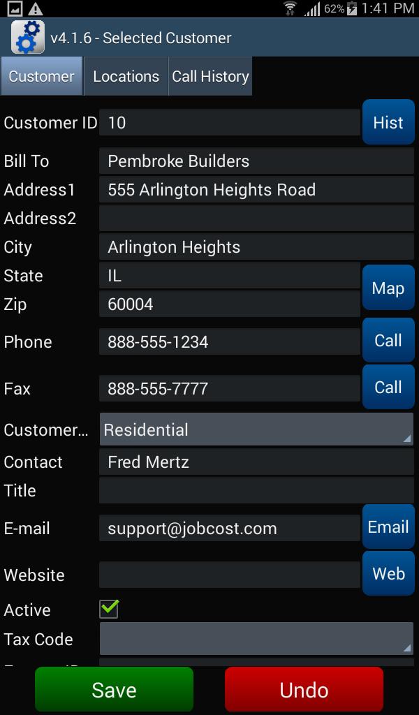 Customer - Customer tab