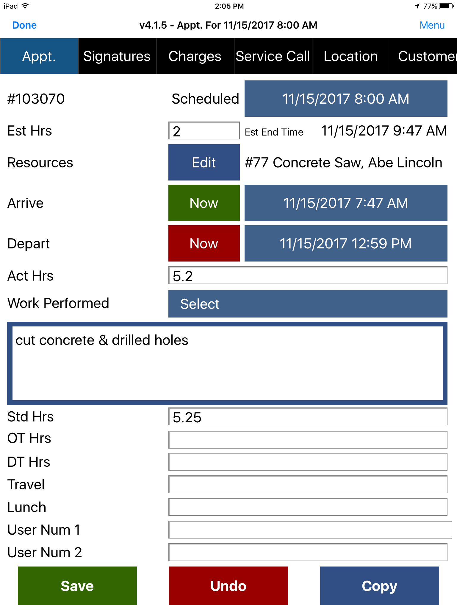 Appointment - Appointment tab with depature time and notes