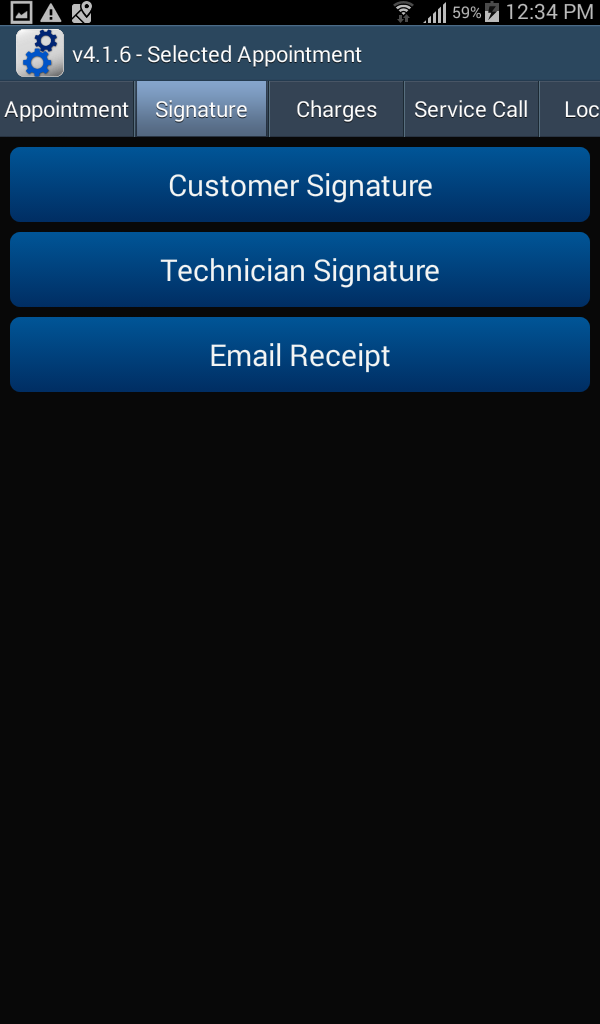 Appointment -Signature tab