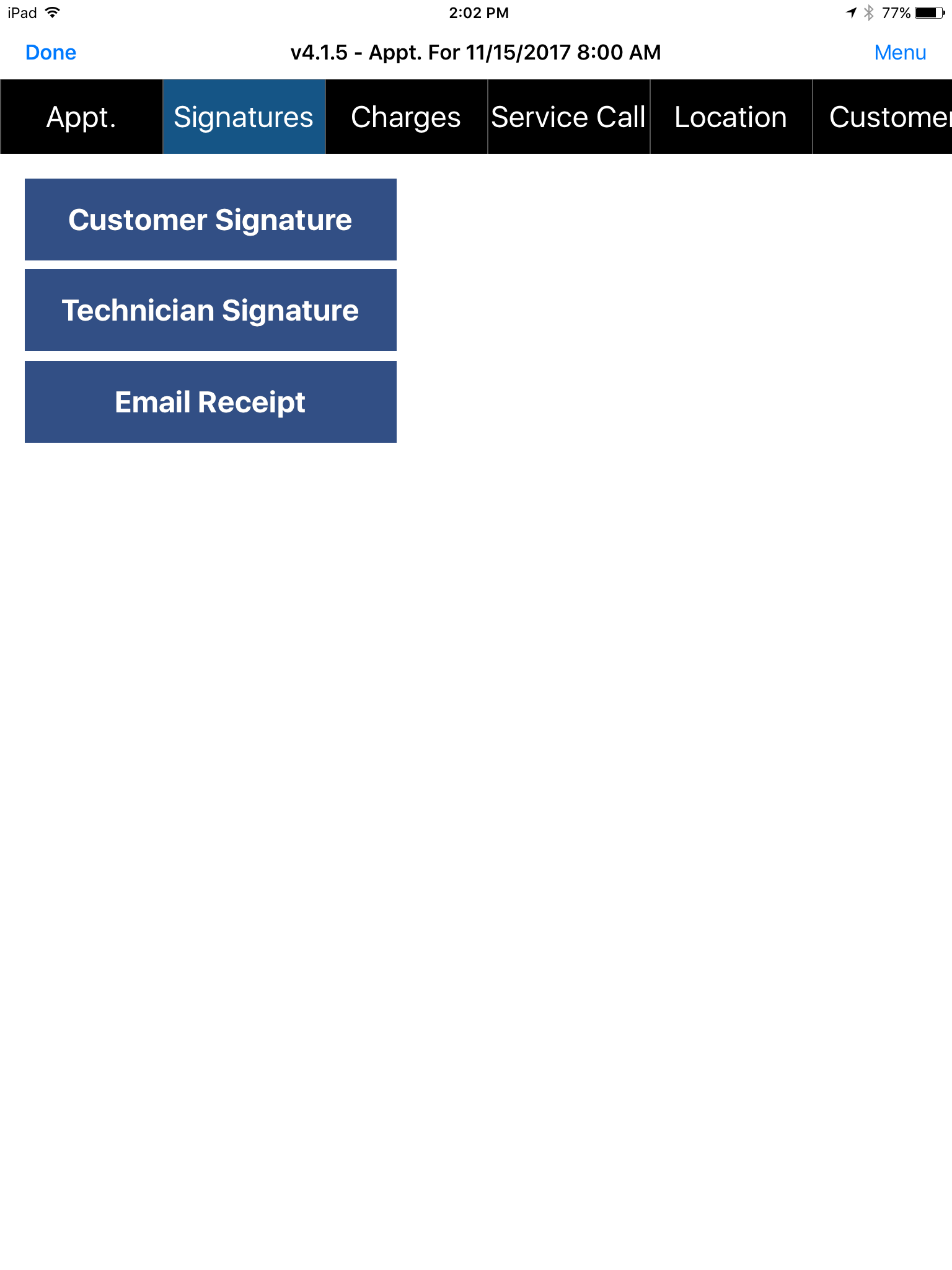 Appointment - Signature tab