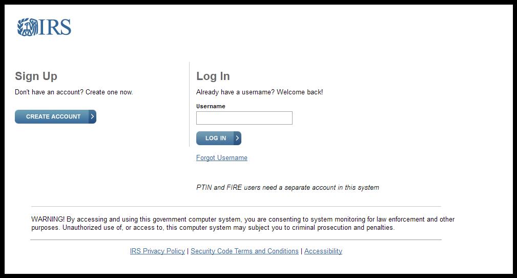 IRS Login page