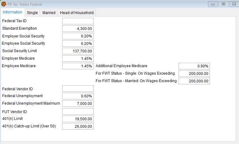 2020 PR Tax Tables Federal - Information tab